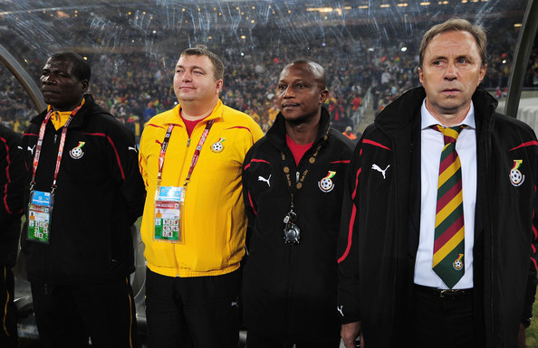 Ghana's bench at the 2010 FIFA World Cup finals.
