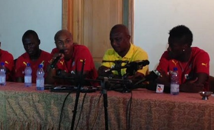 Andre Ayew speaking at the press soiree