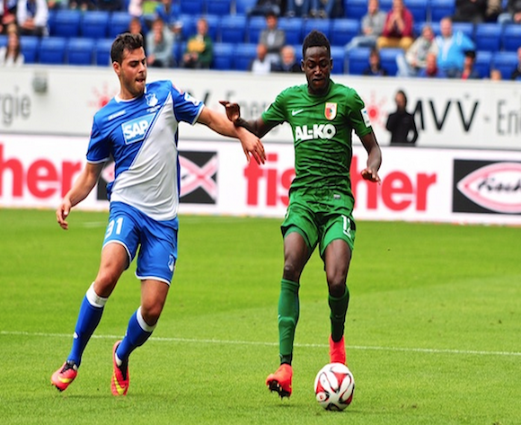 Baba Rahman in action for Augsburg.