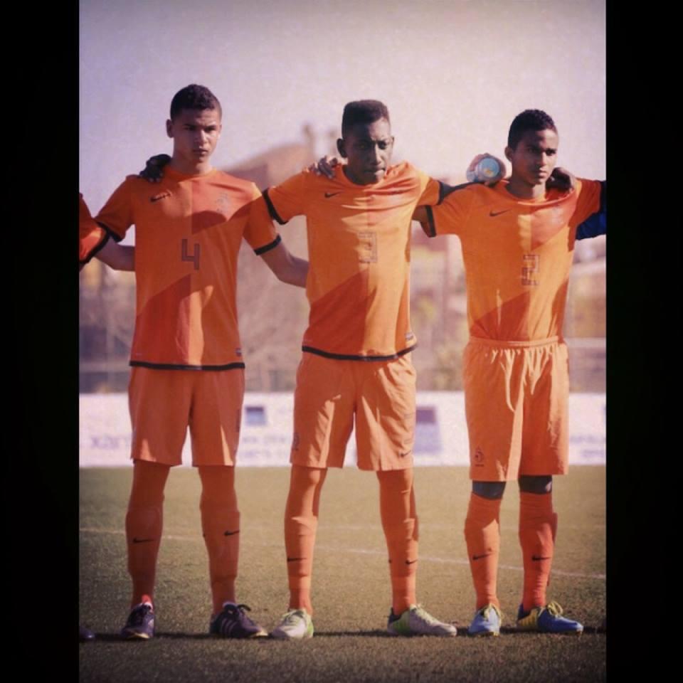 Emmanuel Boateng middle, in action for Dutch U16