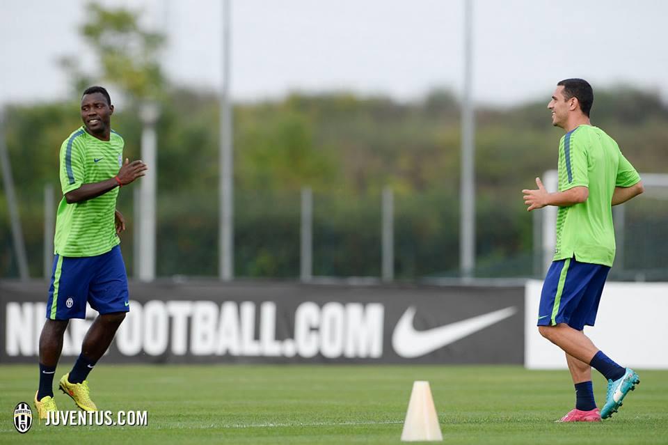 Kwadwo Asamoah training ahead of Juventus' Uefa Champions League game on Tuesday