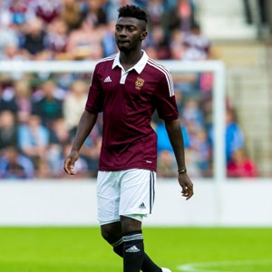 Prince Buaben took an early shower in Hearts' win on Saturday