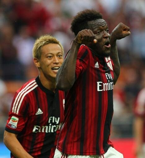 Sulley Muntari celebrates his goal for AC Milan