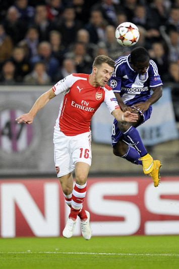 Acheampong in an area tussle with an Arsenal defender