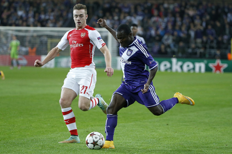 Frank Acheampong in action against Arsenal