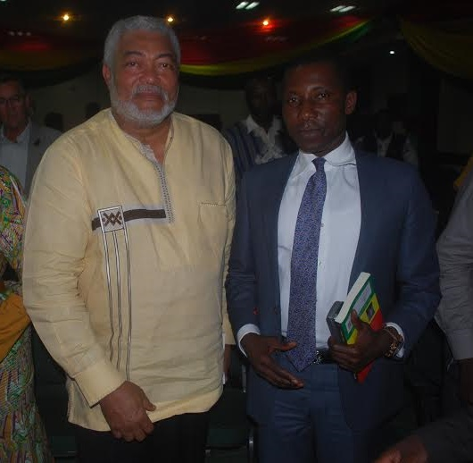 Kennedy Agyapong with ex Ghana President JJ Rawlings at the book launch