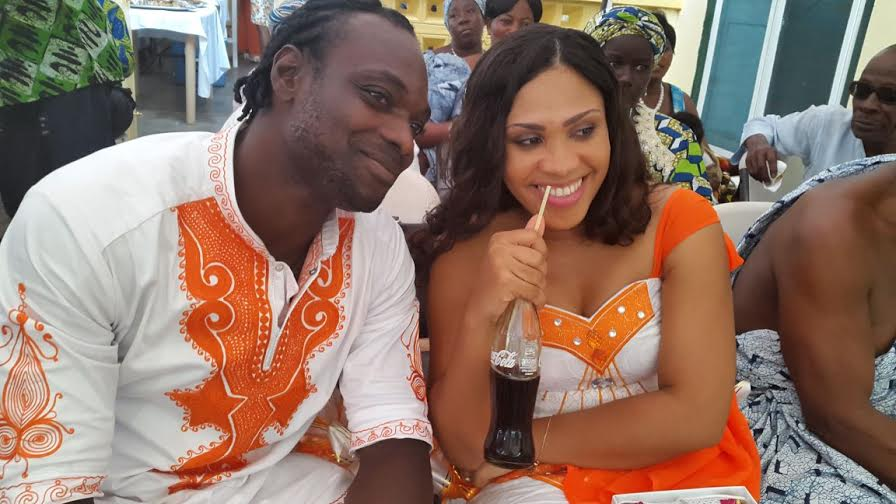John Mensah with his new wife Mireille