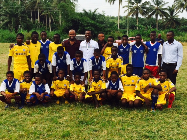 Asamoah Gyan Foundation officials with the local juvenile team in Okwampa
