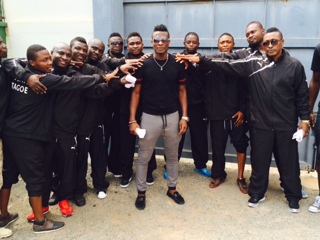 Asamoah Gyan arriving with his crew for the weigh-in session