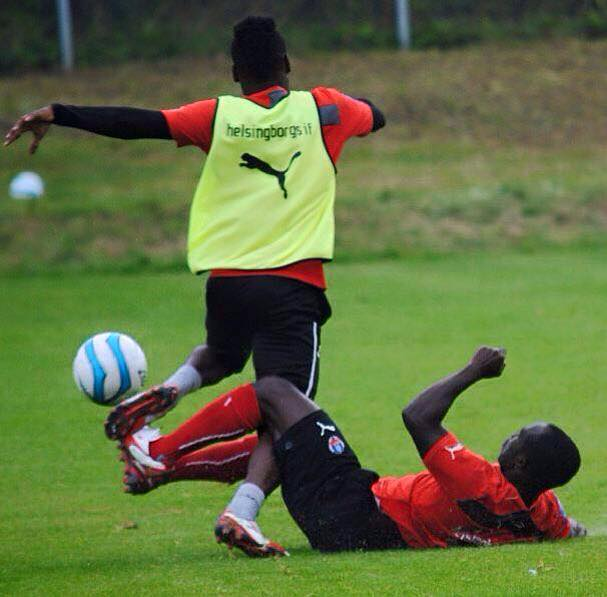 Boateng giving Accam a tackle at training at Helsingborg in the Swedish league last season
