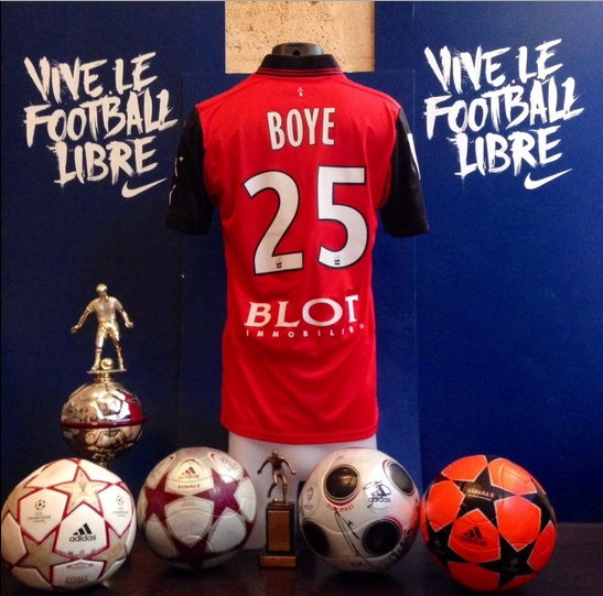 John Boye's jersey is on display at Stade Rennes