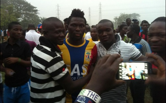 Hearts striker Gilbert Fiamenyo mobbed by fans after two-goal heroics against Crystal Palace