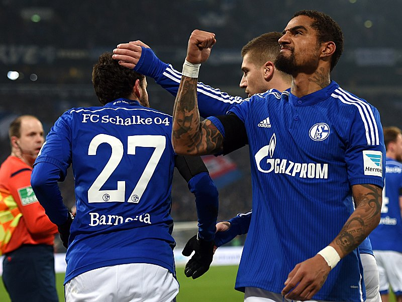 Schalke's midfielder Kevin Prince Boateng celebrates after they scored during the German first division Bundesliga football match FC Schalke 04 v Borussia Moenchengladbach in Gelsenkirchen, western Germany on February 6, 2015. AFP PHOTO / PATRIK STOLLARZ  DFL RULES TO LIMIT THE ONLINE USAGE DURING MATCH TIME TO 15 PICTURES PER MATCH. IMAGE SEQUENCES TO SIMULATE VIDEO IS NOT ALLOWED AT ANY TIME. FOR FURTHER QUERIES PLEASE CONTACT DFL DIRECTLY AT + 49 69 650050.        (Photo credit should read PATRIK STOLLARZ/AFP/Getty Images)