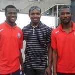 Inter Allies goalkeepers Kwame Osei and Frank Andoh meet Richard Kingson
