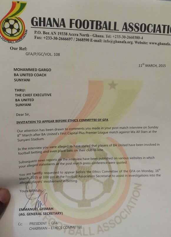 Ba united coach mohammed gargo hauled before gfa ethics committee a copy of the ghana fa letter inviting mohammed gargo stopboris Images
