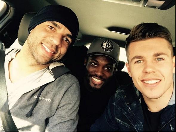 Michael Essien reunites with former Chelsea team-mates Alex and Marco van Ginkel at Milan