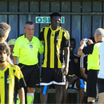 Star-struck referee takes picture with Sulley Muntari before officiating Al Ittihad friendly in Italy