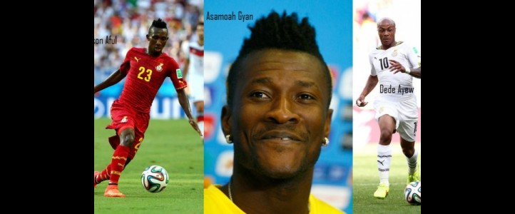 Asamoah Gyan, Andre Ayew and Harrison Afful vie for Sports Writers Footballer of the Year on Saturday