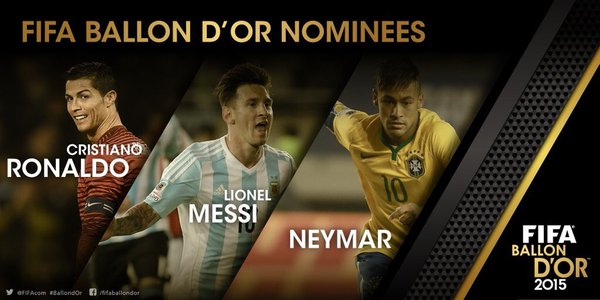 Ballon d'Or 2015: Ronaldo, Messi and Neymar make three-man shortlist