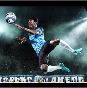 Samuel Inkoom models in new Nike boots and sports wear