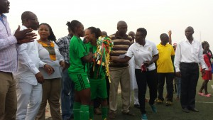 Hasacas Ladies captain Samira Suleima with the trophy
