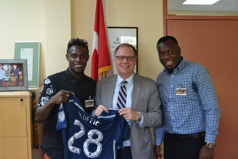 Whitecaps star Gershon Koffie outlines charity work vision with Canadian High Commissioner