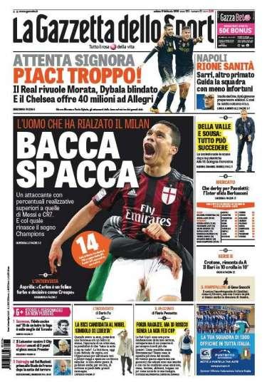 Gazzetta, Tuttosport And Corriere Dello Sport Headlines: 6th February 2016