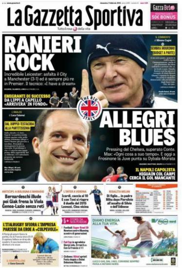 Gazzetta, Tuttosport And Corriere Dello Sport Headlines: 7th February 2016