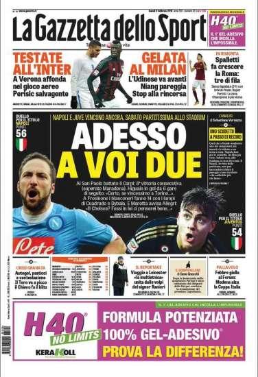 Gazzetta, Tuttosport And Corriere Dello Sport Headlines: 8th February 2016