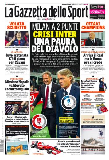 Gazzetta, Tuttosport And Corriere Dello Sport Headlines: 16th February 2016