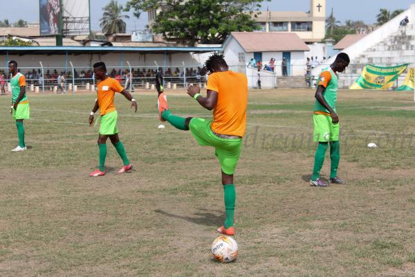 Dreams FC players during the warm-up.