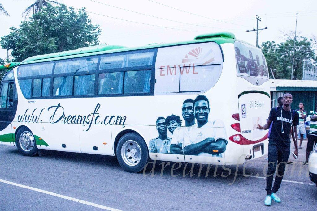 PHOTOS: Dreams FC unveil branded team bus ahead of home debut against Bechem