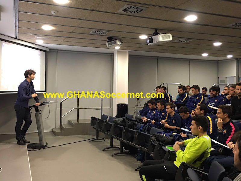 Ghana assistant coach Gerard Nus teaches Barcelona coaches