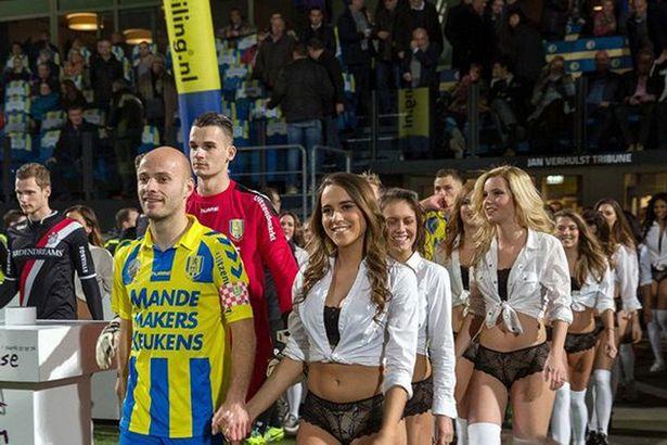 Dutch side RKC Waalwijk beats Ghana FA, replace child mascots with LINGERIE MODELS