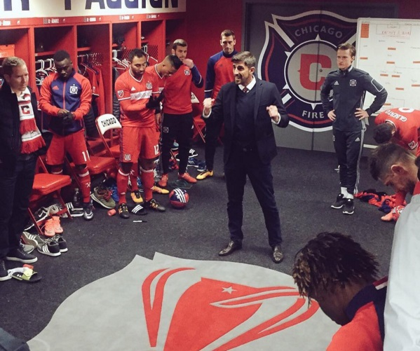 David Accam in the Fire dressing room