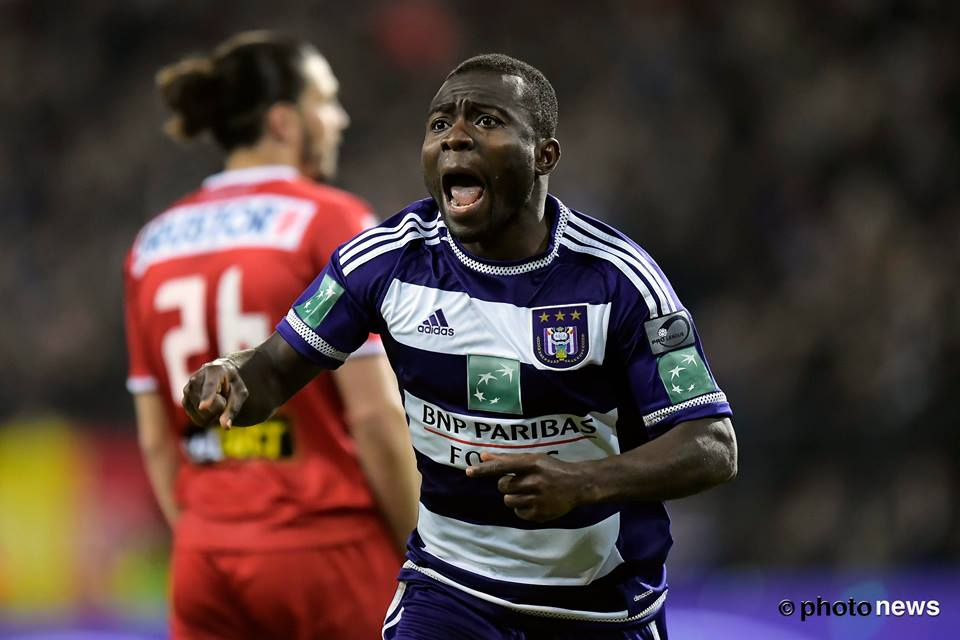 Frank Acheampong wheels away to celebrate his goal