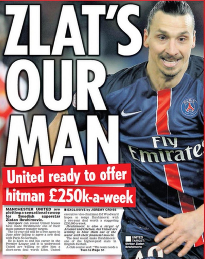 Today's newspaper gossip: Man United to offer Ibrahimovic £250k-a-week,