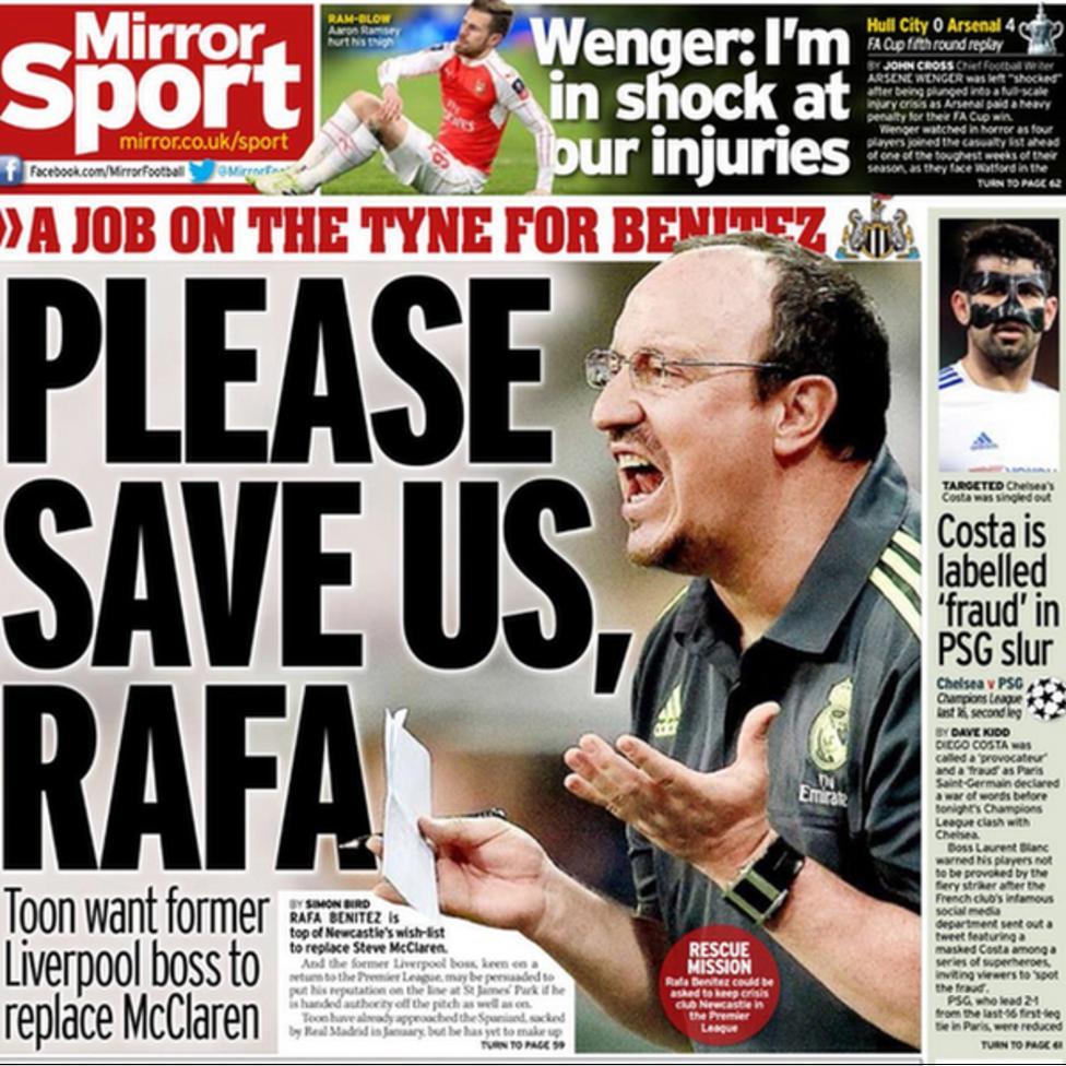 Today's newspaper gossip: Newcastle target Benitez, Zlatan sure of Man United deal