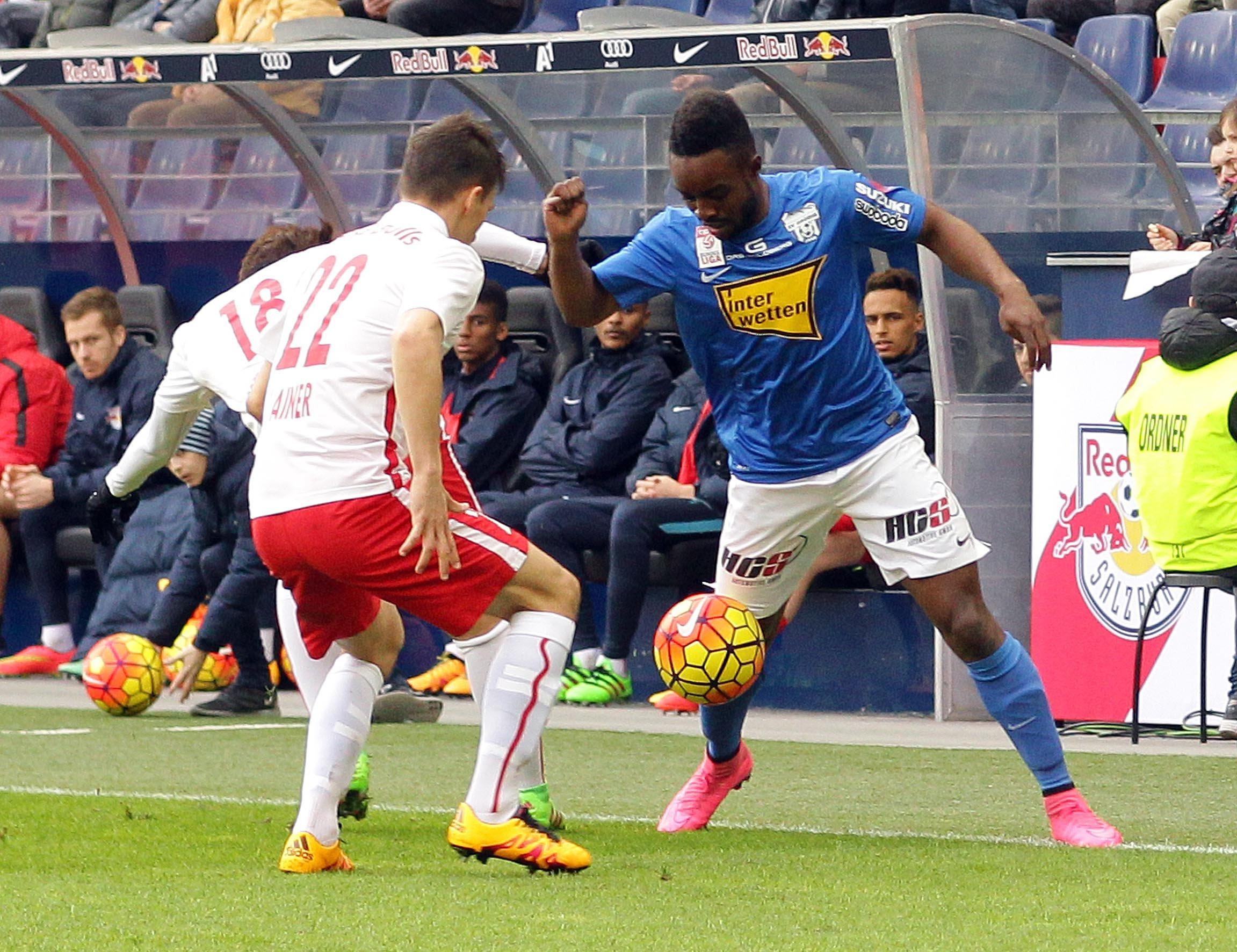 Ofosu in action against Red Bull Salzburg
