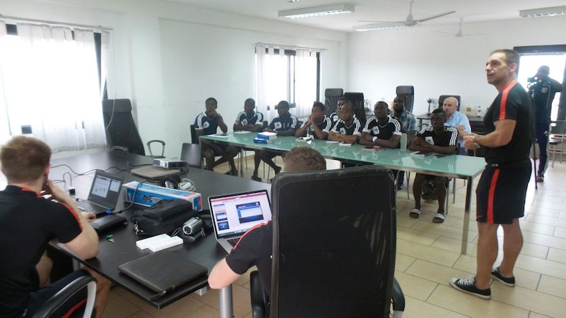 Red Bull Salzburg officials lecturing coaches of WAFA SC.