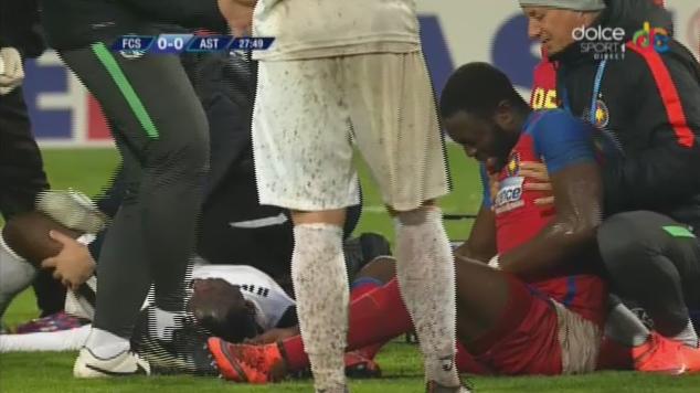 PHOTOS: Ghanaian midfielder Muniru Sulley suffers violent injury in Romania