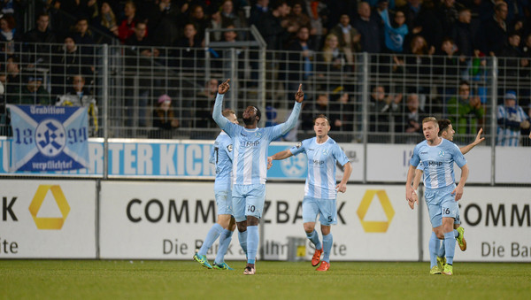 German-born Ghanaian forward Erich Berko scores in German lower-tier