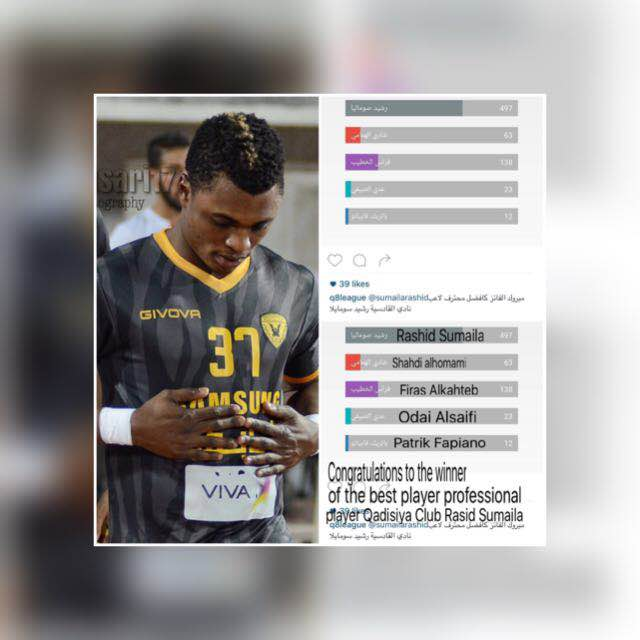 Rashid Sumaila named best foreign defender in the Kuwaiti League
