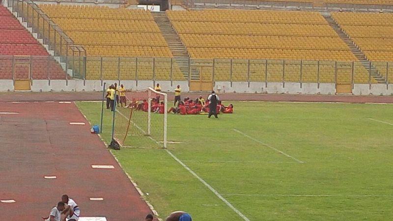 Asante Kotoko training at the Baba Yara Stadium.