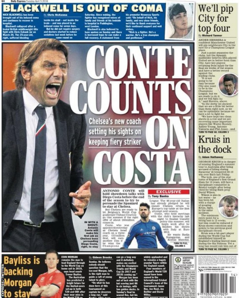 Today's newspaper gossip: Conte counting on Costa, Iwobi agrees new Arsenal deal