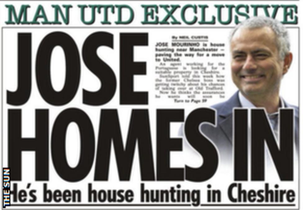 Today's newspaper gossip: Mourinho house huntng in Cheshire, Arsenal want Morata