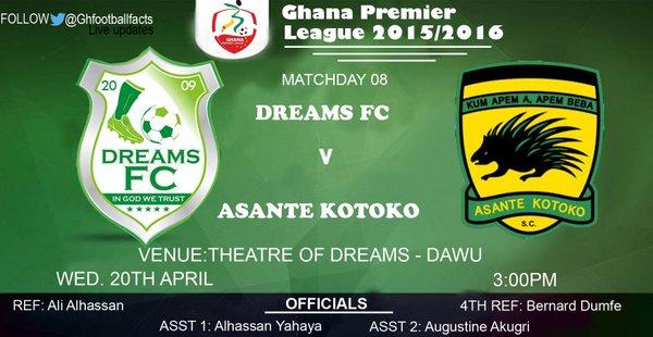 Re-live the Ghana Premier League LIVE play-by-play: Dreams FC 0-1 Asante Kotoko