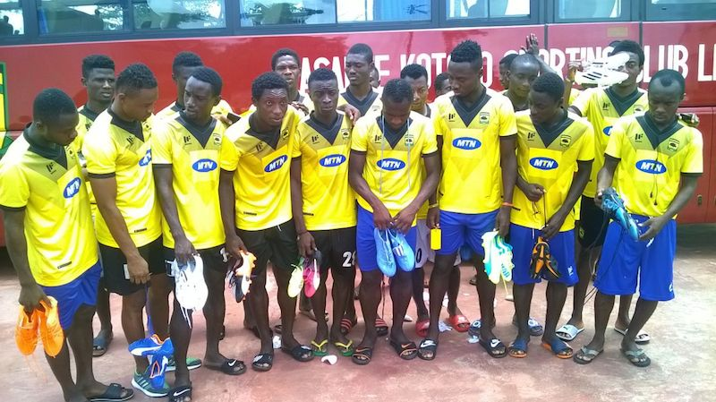 PHOTOS: Afro Arab Group of Companies boost Kotoko with boots donation  ahead of Hearts clash