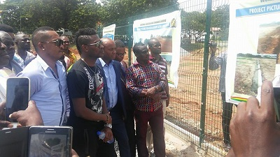 Asamoah Gyan inspects Accra Academy astro turf project