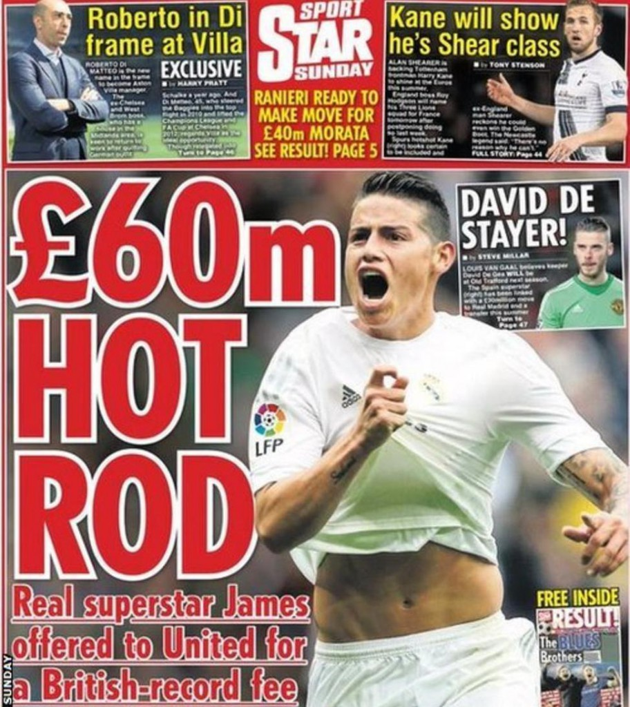 Today newspaper gossip: Man United offered James Rodriguez; PSG target Martial